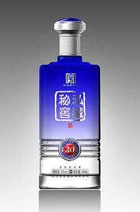 蓝色渐变酒瓶 PSD