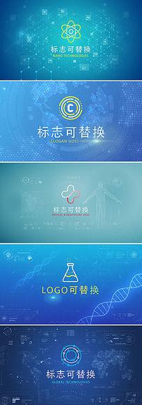科技背景企业logo标志展示ae模板