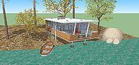 现代海边观景房木屋SU模型