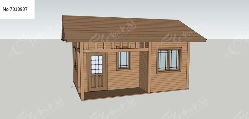 小木屋防腐木su模型图片