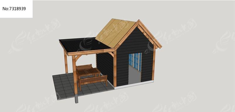 小木屋廊架亭su模型图片