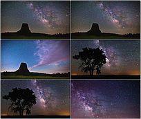 夜晚天空银河美景视频