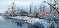 滨水景观带冬景雪景
