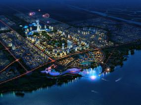 城市滨水鸟瞰夜景效果图