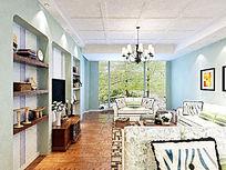 淡蓝色室内客厅装修模型