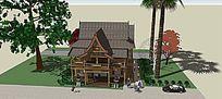 东南亚风格小屋木屋SKP模型