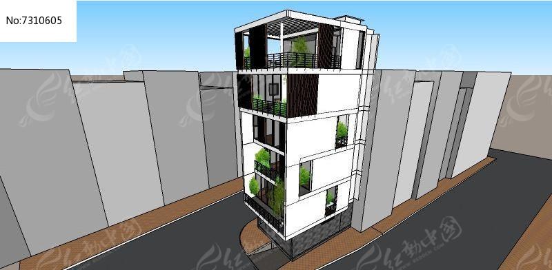 多层阳光房高层建筑SU模型图片