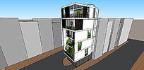 多层阳光房高层建筑SU模型
