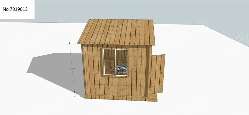 防腐木小房子的su模型图片