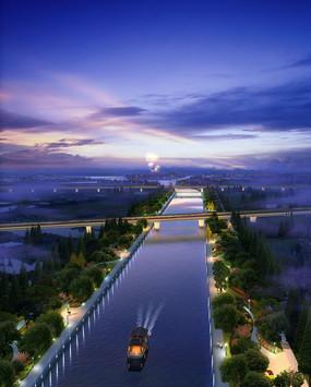 河道周边绿化夜景效果图