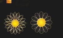 金色花朵PSD分层素材