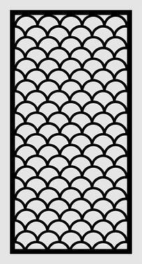 龙鳞纹镂空雕矢量图