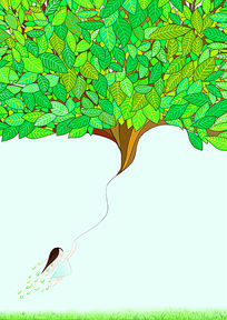 绿叶森林插画