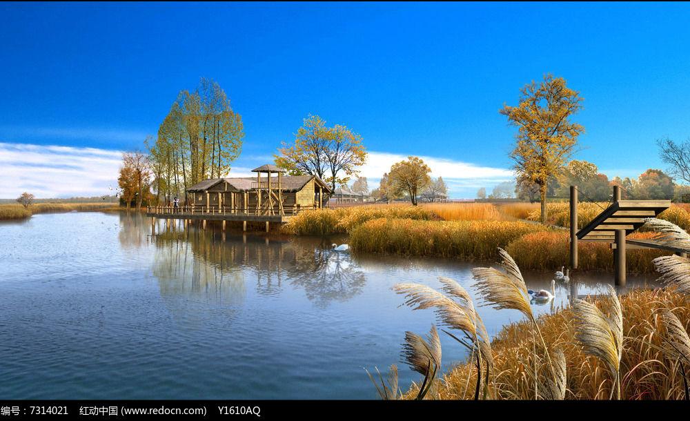 秋季滨水景观效果图图片