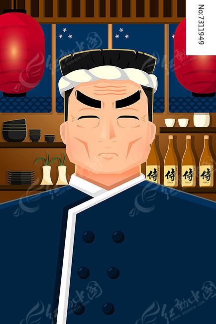 日本厨师插画图片