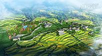 山区农村乡村规划农村规划设计鸟瞰图 PSD