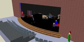 室内舞台现场的SU模型