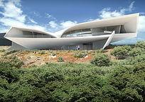 现代住宅周边绿化效果图 PSD