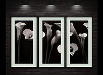 新中式黑白创意花卉装饰画