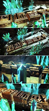 震撼大气三维立体金色金属质感LOGO标志文字开场片头模板