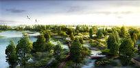 自然湿地公园鸟瞰图 PSD