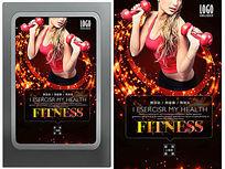 国外红色炫彩美女健身海报