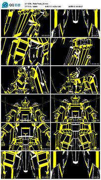 led卡通黄色变形金刚动感动画机器人视频素材 mov