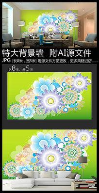 花朵剪纸背景墙装饰画