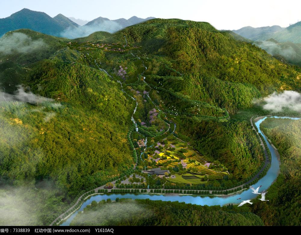 景区自然梯田鸟瞰图图片
