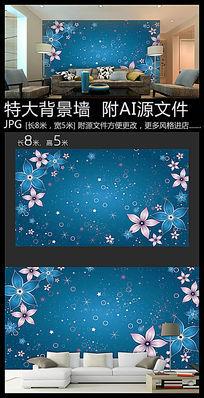 蓝色花朵背景墙装饰画