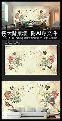 玫瑰花蝴蝶背景墙装饰画