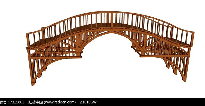 木结构景观桥模型图片
