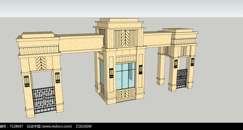 欧式大门su模型skp素材下载_围墙|栏杆|大门设计图片