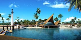 热带滨水度假景区效果图