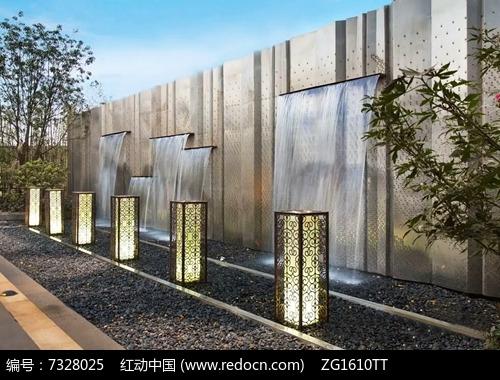 新中式墙面跌水景观图片