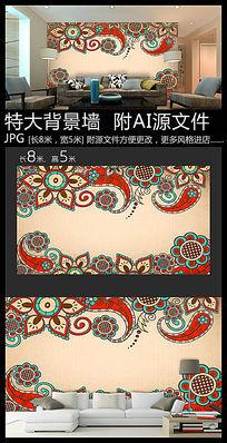 印花图案复古背景墙装饰画