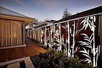 中式竹子图案景墙景观灯