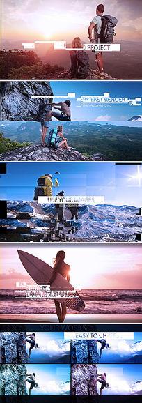 ae动感节奏画面故障旅游宣传视频模板