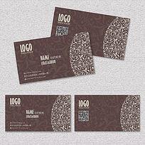 咖啡色欧式花纹高档名片卡片