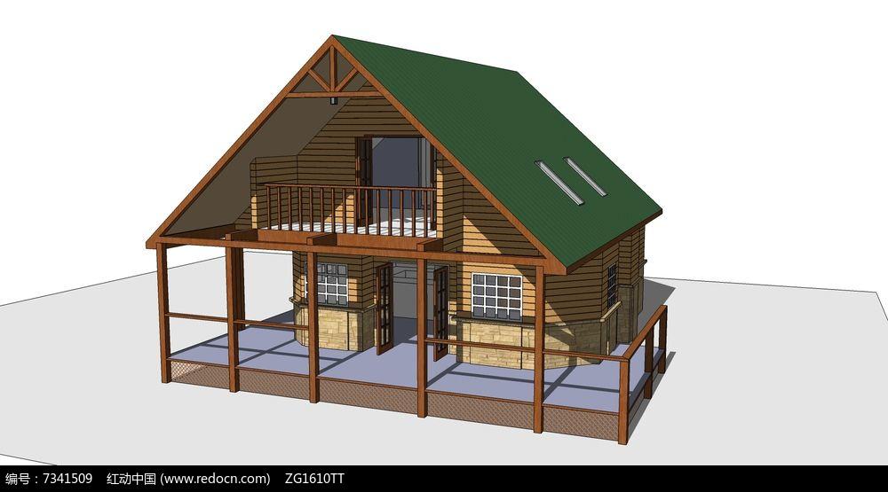 欧美风格两层斜屋顶木屋