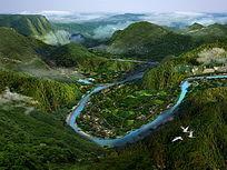 山间景区鸟瞰图