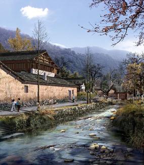 山间老屋溪流景观