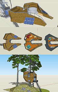 树屋多层户外住宅休闲木屋建筑室内模型 skp