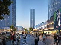 现代商业广场效果图 PSD