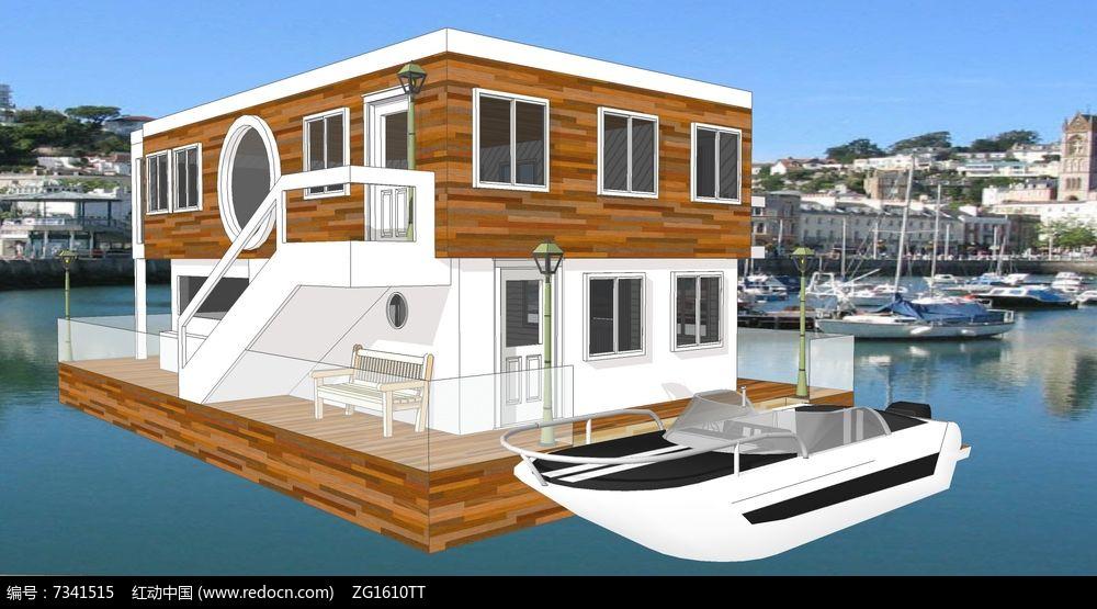 现代水上木别墅木屋休闲建筑su模型图片
