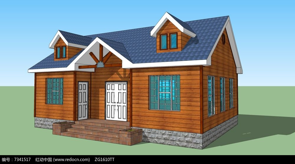 新中式乡村花园别墅住宅木屋建筑