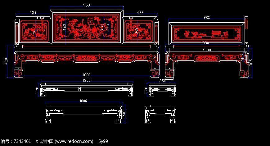 中式古典家具cad结构生产图八仙罗汉床
