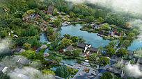 中式园林山庄鸟瞰图