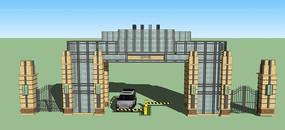 高档小区大门设计模型