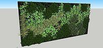 绿色植物墙SU模型设计